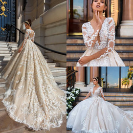 2017 New Design Sexy Deep V Neck A-Line Wedding Dresses Sheer Illusion Long Sleeves Lace Appliques Bridal Gowns With Long Train Sexy Back