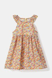 CURZON 2017 new Fresh color small floral cotton princess skirt 2-6 year old little girl dress