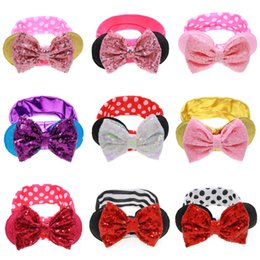 Wholesale Baby Newborn Sequin Bowknots Headbands Big Bowknot Round Rabbit Ears Turban Hair Band Bunny Ears Elastic Headwrap Hair Photographic Props