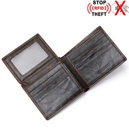 À double bourse de portefeuille à vendre-Hommes RFID Mini portefeuille en cuir de vache Portefeuille / Porte-monnaie Porte-cartes de crédit Double carte de crédit Porte-monnaie