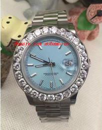 Cerámica blanca reloj de pulsera en venta-Relojes De Lujo De Oro Blanco Día De Fecha Presidente W / Mens Bigger Diamante Bisel De Cerámica 41MM Hombres Mecánicos Reloj De Reloj