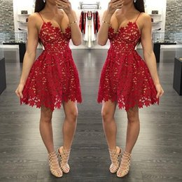 Spaghetti Straps Short Cocktail Dress 2017 Red Lace A Line Prom Party Dresses Mini Backless Homecoming Dresses