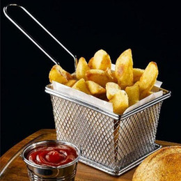 Wholesale by DHL or EMS Chips Mini Fry Baskets Stainless Steel Fryer Basket Strainer Serving Food Presentation French Fries Basket