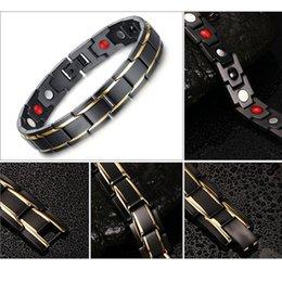 Hot Sale Hottime Luxury Fashion Health Energy Bracelet Bangle Men 316L Stainless Steel Bio Magnetic Bracelets Black & Gold Plated Jewelry