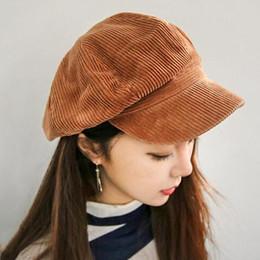 Wholesale Corduroy anise newsboy cap Retro literary female snapback cap Leisure hat accessories