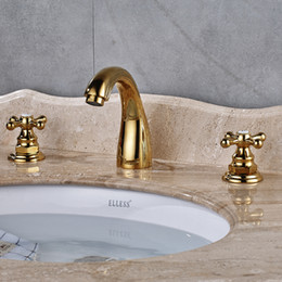 Wholesale and Retail Golden Finish Dual Handle Widespread Bathroom Deck Mounted Basin Faucet With Mixer Tap