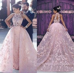 2019 Pink Amazing Evening Dresses Full Lace with Detachable Train Long Fomral Prom Party Gowns by Said Mhamad Arabic Halter Dresses BA6403