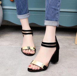 beautiful Ms new Korean all-match student summer fashion high-heeled coarse fish mouth open toe shoes cool