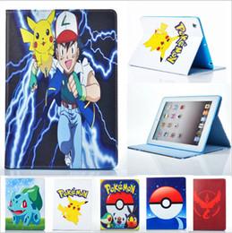 Promotion mélanger le cas de la mode Mode Poke Aller Pikachu Tablette Flip Pochette Housse Housse Sac Sacs pour IPAD 2/3/4 IPAD mini 2 3 mini 4 ipad Air 5 ipad Air2 6 9.7