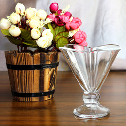 Wholesale Crystal glass ice cream cup Transparent High White Material Glass Ice Cream Milk Coffee Shop Festivals Housewares g198ml
