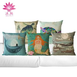 muchun Brand Ocean Feature Christmas Linen Pillow Cover Square Halloween Party 45*45cm Home Textiles Decorative Pillow Case