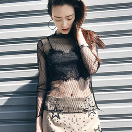 M L XL Summer Long-sleeve Underwear Breathable Sexy Top Lace Perspective Blouse FND006