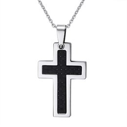 316L Stainless Steel High Polish Cross Pendant with Black Carbon Fiber Inlay