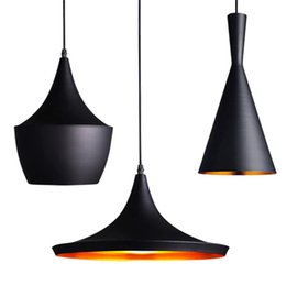 Wholesale New Arrival Indoor Light Tom Dixon Copper Design Shade Pendant Lamp E27 Bulbs Beat Light Ceiling Lamp Black White Home Decoration Set