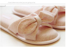 shoes woman flip flops room slippers cotton bowknot Japanese style