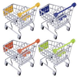 Wholesale 30pcs Hot Fashion Mini Supermarket Hand Trolleys Mini Shopping Cart Desktop Decoration Storage Phone Holder Baby Toy New