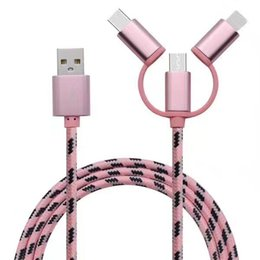 New Universal Android Phone High Quality USB Speed Charging Cable Micro USB 3 in 1 Multiple Nylon Braided USB Type-C Cord