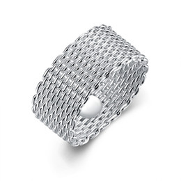 Fashion 925 Sterling Silver rings jewelry handmade net round rings mesh rings Size 6.7.8.9.10,Can be mixed size