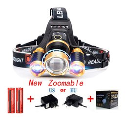 Wholesale 6000 Lumens CREE MX T T6 LED Headlamp Aluminum Alloy Zoomable Headlight Light For Hiking Camping Battery US EU UK AU Charger