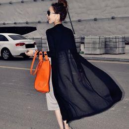 Promotion noir cardigan tricoté Grossiste - Maxi Cardigan Femmes 2017 Long Sweater Coat Femmes Coréen Vintage Tricotés Long Sleeve Noir Blanc Veste oversize outwear