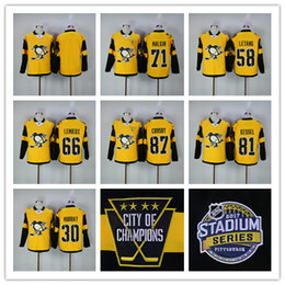Promotion série de hockey 2017 Stadium Series Pittsburgh Penguins 87 Sidney Crosby 71 Malkin 58 Kris Letang 30 Matt Murray 66 Lemieux jersey de hockey cousu