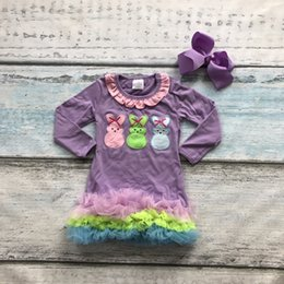Wholesale Easter cotton design new baby girls kids boutique clothing eatser bunny dress sets with matching accessories headband set