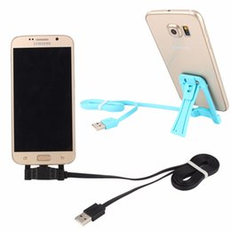 Mini 2in1 USB Cable + Phone Holder Mobile Phone Stand Folding Bracket Holder for iPhone 5 6 plus for Android Smartphone