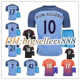Wholesale best quality Manchesters City home blue soccer Jersey Kits RD DZEKO KUN AGUERO KOMPANY TOURE YAYA DE BRUYNE away Football Shirts