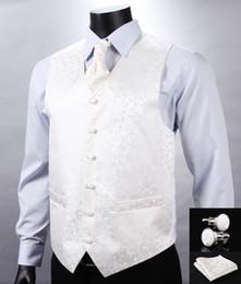 Promotion boutons de manchette de smoking Vente en gros- VE05 Blanc Beige Floral Top Design Hommes Mariés 100% Soie Gilet Veste Pocket Square Boutons de manchette Cravat Set pour Suit Tuxedo