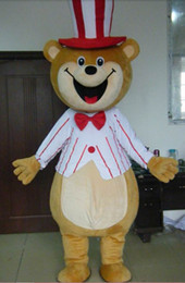 100% real photo adult happy cute teddy bear mascot costume with circus hat