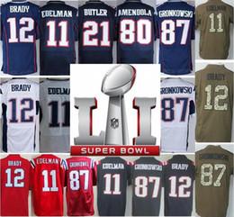Wholesale Mens Super bowl SuperBowl LI Patch Julian Edelman Tom Brady Jerseys Rob Gronkowski Pro Bowl Red White Green Sault To Service