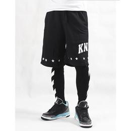 Wholesale off white stripe printed hip hop lovers mens hiphop legging ktz fashion brand man leggings