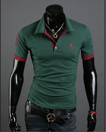 2017 Autumn New Polo Shirt for Men Fawn Embroidery Luxury Casual Slim Fit Stylish T Shirt with short Sleeve 6 Colors 4 Size