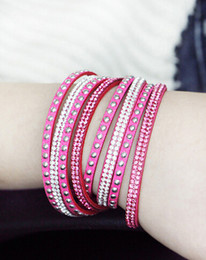 Hot Wholesale Punk style Hot Drilling Multi_layer Winding Flannelette Braided Leather Bracelet High Quality Delicate Handmade Jewelry