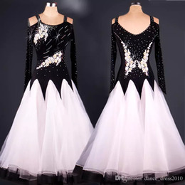 Ballroom Dance Dress Modern Waltz Tango Standard Flower Rhinestone Dance Dress 2Color Size S-XXL Custom A069