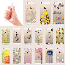 Soft TPU Phone Cases For iphone 5 6 6s 7 7plus Clear Luxury Animals Flower Fruits Girls Cat Transparent Ultra Thin Back Cover