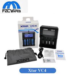 Quad lcd en Ligne-Authentique Xtar VC4 Chargeur de batterie Quad Slot Chargeur intelligent avec écran LCD pour 18350 18550 18650 16650 Li-ion Batteries Ni-MH batterie