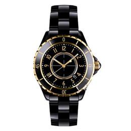 Cerámica blanca reloj de pulsera en venta-Relojes de lujo de la marca de fábrica de la señora White / Black Rose Gold de los relojes de cuarzo de la alta calidad para las mujeres Relojes exquisitos de las mujeres de la manera