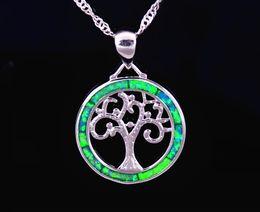 Wholesale & Retail Fashion Jewelry Fine Blue Fire Opal Green Tree Stone Sterling Sliver Pendants For Women PJ17082717
