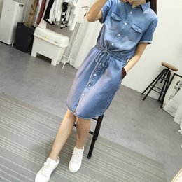 Autumn 2017 new fashion high quality women denim dress casual lapel loose short sleeved T shirt dresses plus size free shipping
