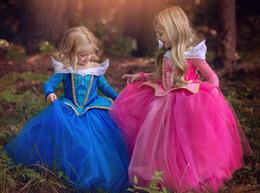 Wholesale Hot sale Elegant Dreamlike Princess Skirt Aloha Long sleeve blue Pink children Beautiful Cinderella dress for Chrismas Dinner party Gifts