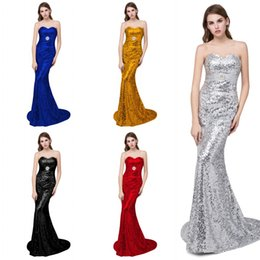 2017 New Sequins Royal Blue   Gold   Black Mermaid Evening Dresses In Stock With Crystal Beaded Sweep Train Bling Prom Party Gowns Cheap