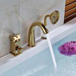 Wholesale and Retail Golden Finsh Square Handle Widespread Bathroom Basin Faucet Dual Mixer Tap