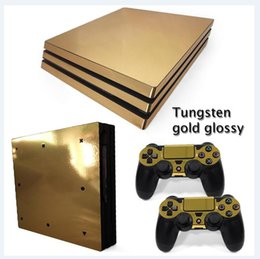 Golden Style Full Set Vinyl Skin Sticker Decor Decals for Sony PS4 Pro Console Skin + 2 PCS Controller Cover Skin Stickers
