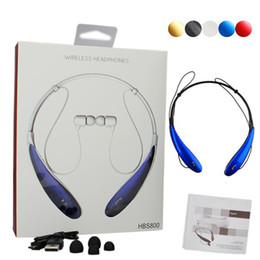 Wholesale HBS Wireless Bluetooth Headsets HBS800 Bluetooth Headphones Stereo Sport Headphone Neckband In Ear Earphone for LG iPhone Samsung