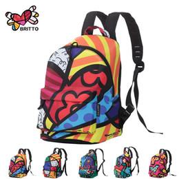 ROMERO BRITTO 2016 Hot Sale College Wind Graffiti Backpack Satin Backpacks Travel Bags Rucksack School bag Free Shipping