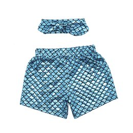 Wholesale Mermaid shorts Baby Girl Mermaid Ruffle Shorts Bubble Shorts Mermaid Clothing Boutique Clothes toddler underwear pictures mermaid shorts