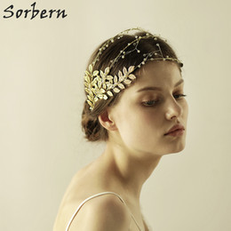 Sorbern Clear Beads Bridal Headpieces Gold Leaves Hair Vine Wedding Headband Hair Accessories Hair Jewelry Rhinestone Head Chain Headpiece