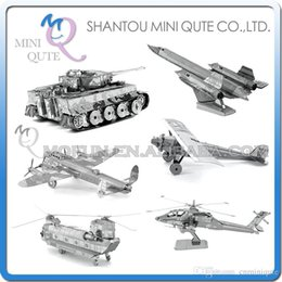 Wholesale DHL Piece Fun D War vehicle plane AH Apache CH Chinook Chi Ha T Tiger tank Metal Puzzle adult models educational toy