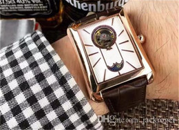 Descuento esfera blanca para hombre de los relojes automáticos Relojes automáticos del mens del movimiento de Tourbillon de la correa de cuero del dial de la marca de fábrica 2016 de calidad superior BRITÁNICA de lujo del cuadrado
